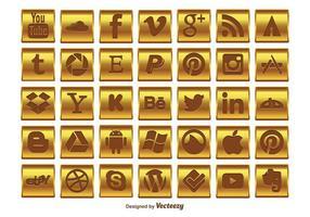 Conjunto de ícones de mídia social do ouro