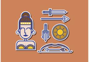 Pacote de vetores athena grecia da deusa