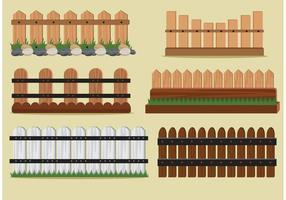 Vetores de cerca de piquete de madeira