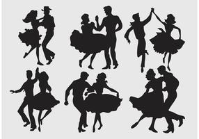 Silhueta quadrada dançarinos vetor