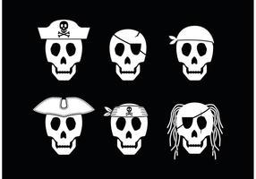 Vetores do ícone do crânio do pirata