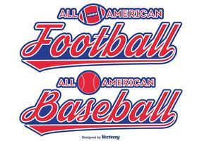 Etiquetas tipográficas de futebol / basebol vetor