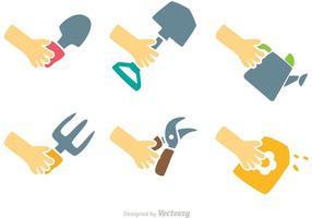Conjunto de vetores de jardinagem mãos