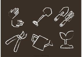 Vetores de jardinagem desenhados por giz