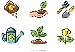 Vector de ícones de jardinagem dos desenhos animados