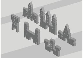 Vetores de ícone do forte 3D