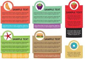 Vetores de modelo de caixa de texto de informação alimentar