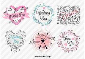 Sinais do dia do casamento à mão vetor