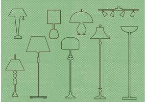 Conjunto de design de lâmpada de vetores grátis
