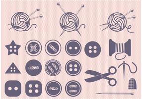 Conjunto de bola de fios e vetores de costura