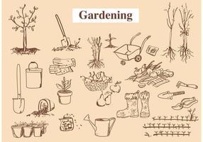 Vetores de ferramentas de jardim desenhados à mão