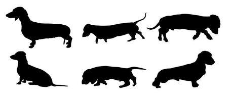 Wiener Dog Silhouettes do vetor