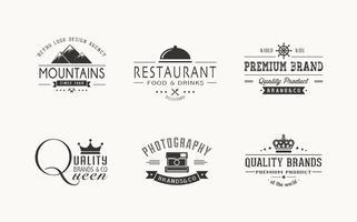 Conjunto de vetores de logos retros grátis