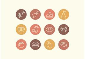 Conjunto de ícones de vetores de alimentos de linha livre