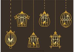 Vetores de gaiolas de pássaros de ouro vintage