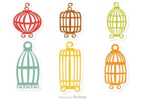 Vetor colorido da gaiola de pássaro do vintage