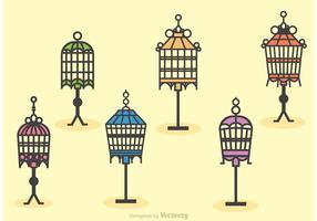 Vetores de carrinho de gaiola de pássaro vintage