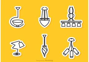 Vetor moderno da etiqueta do esboço do candelabro
