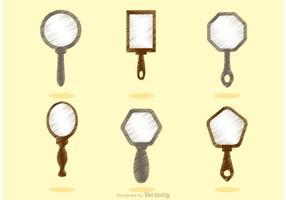 Vetores de espelho de mão vintage esboçado