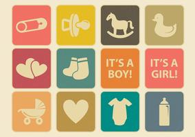 Conjunto de ícones do bebê vintage vetor