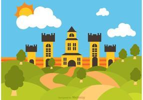 Paisagem de colinas com grande vetor de castelo