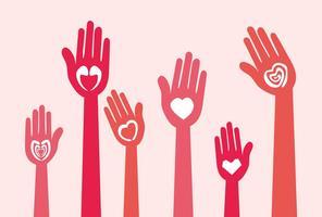 Vetores da mão do amor feliz