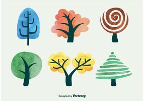 Árvores de vetor de aquarela
