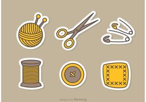 Ícones de vetor de costura e agulha