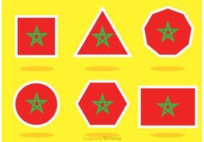 Diferentes vetores da bandeira de Marrocos em forma