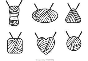 Ícone de ícones de esboço de bola de fios vetor