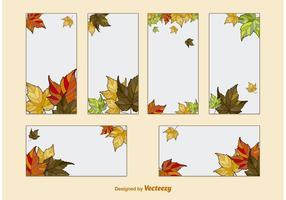 Vetores de modelo de cartão de folhas de outono