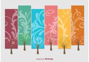 Árvores da etiqueta do vetor das estações