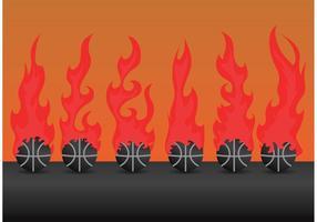 Seis vetores de basquetebol em fogo