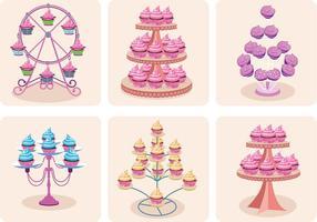 Vetores femininos do cupcake stand