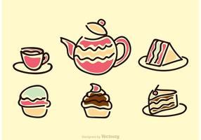 Vetor alto dos ícones do tea party