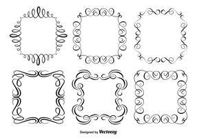 Conjunto decorativo de moldura de ornamento vetor