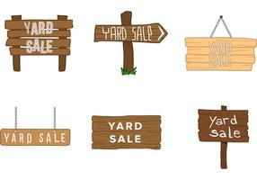 Vetores de sinal de madeira de venda de quintal