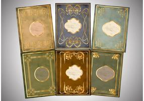 Vetores dourados da capa de livro antigo