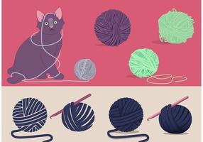 Gato e bola de fios Vector grátis