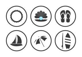 Ícones de vetor de praia