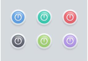Vetor livre brilhante no botão desligado conjunto