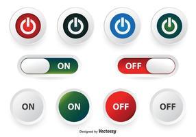 Conjunto de botões desligado e ligado