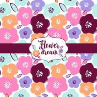 Design de padrão de flores e sonhos vetor