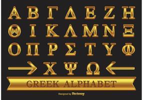 Alfabeto grego de ouro vetor