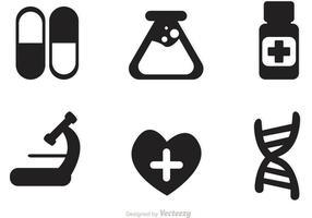 Vector de ícones negros médicos