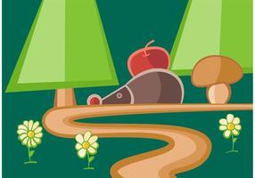 Caminho de floresta com vetor de ouriço