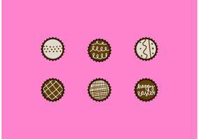 Conjunto de desenhos de vetores de trufa de chocolate