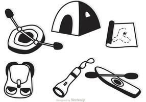Vector de ícones de acampamento e recreação