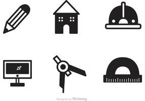 Ferramentas de arquitetura preta vetor de ícones