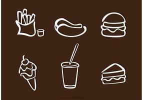 Vetores de ícones de contorno de alimentos brancos